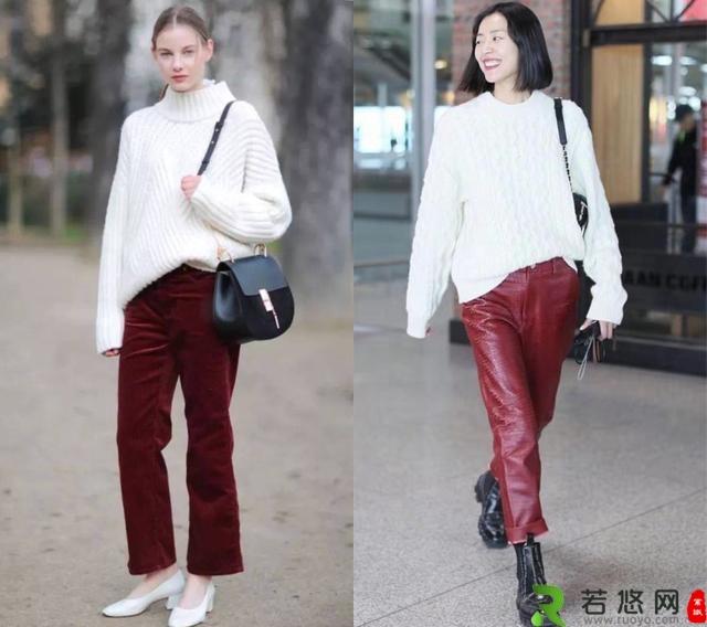 酒红色直筒裤 宽松白色毛衣